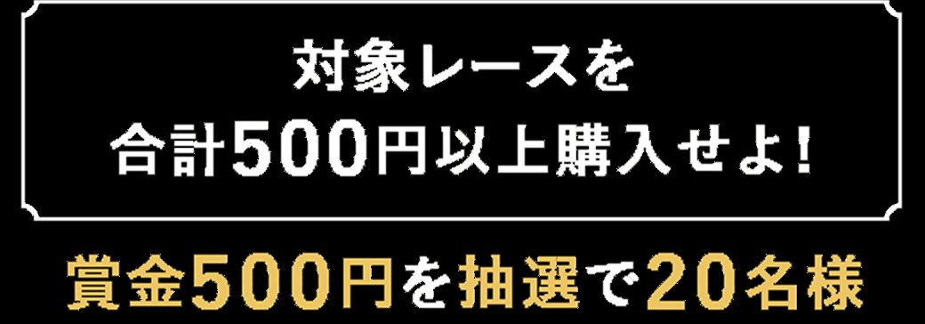 【対象レースを合計500円以上購入せよ!】賞金500円を抽選で20名様