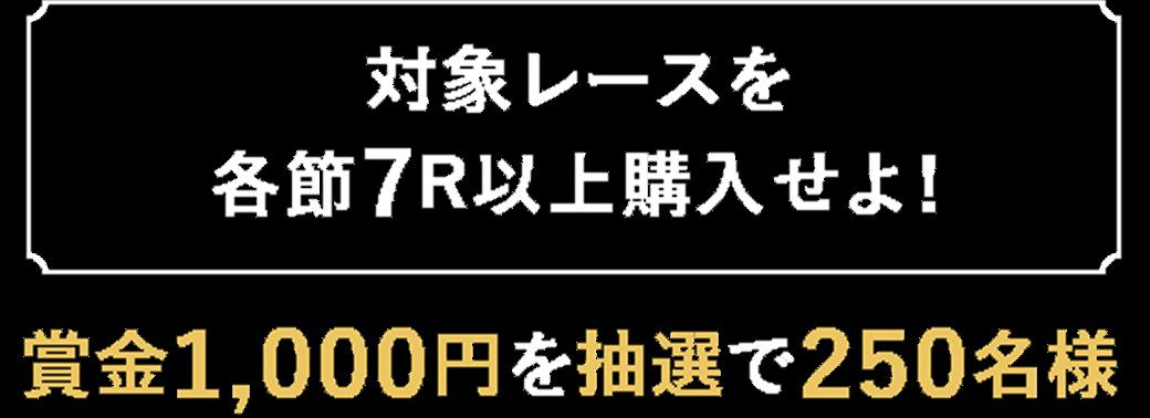 【対象レースを各節7R以上購入せよ!】賞金1,000円を抽選で250名様