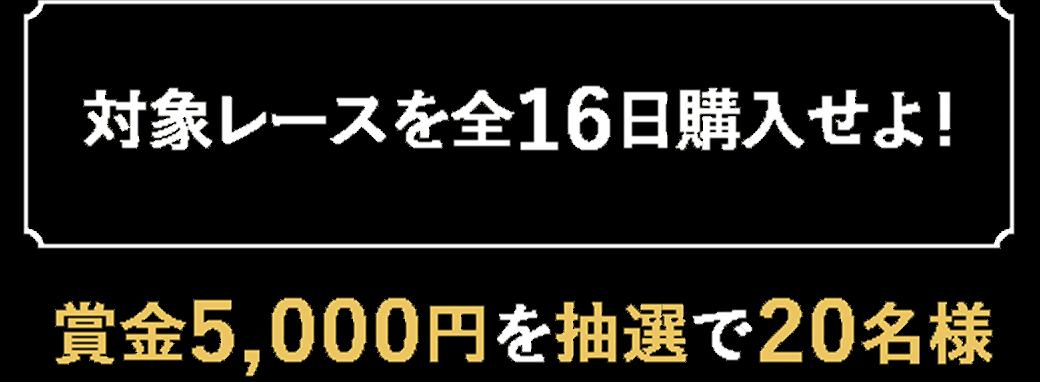 【対象レースを全16日購入せよ!】賞金5,000円を抽選で20名様